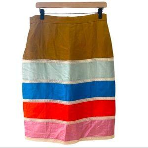 NWT JCREW panel linen blend color block skirt midi